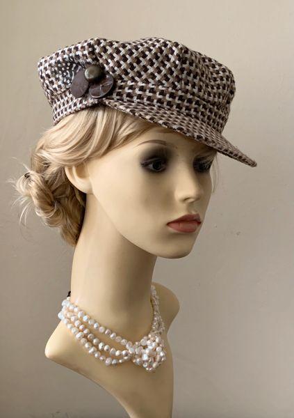 Vintage 1960s Style Brown Check French Style Baker Boy News Boy Button Peak Cap