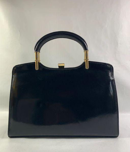 Exclusive Vintage 1960s Black Leather Handbag Buff Suede Lining Elbief Frame