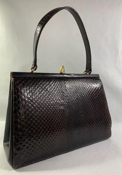 Vintage 1950s Brown Snake Skin & Leather Handbag Buff Suede Lining Elbief Frame