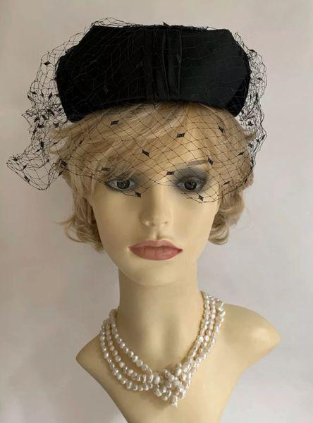 Vintage 1950s Black Velvet Pillbox Hat Face Veil Satin Front Bow & Rear Loops.
