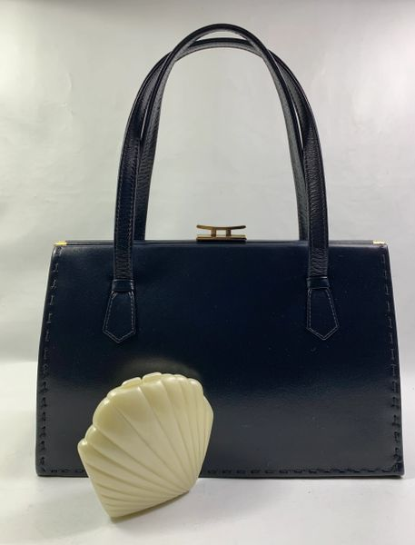 Ackery Deep Sea Blue Vintage 1950s Handbag With St Michael Celluloid Cream Coloured Mirror Compact, Buff Suede Lining And Elbief Frame.