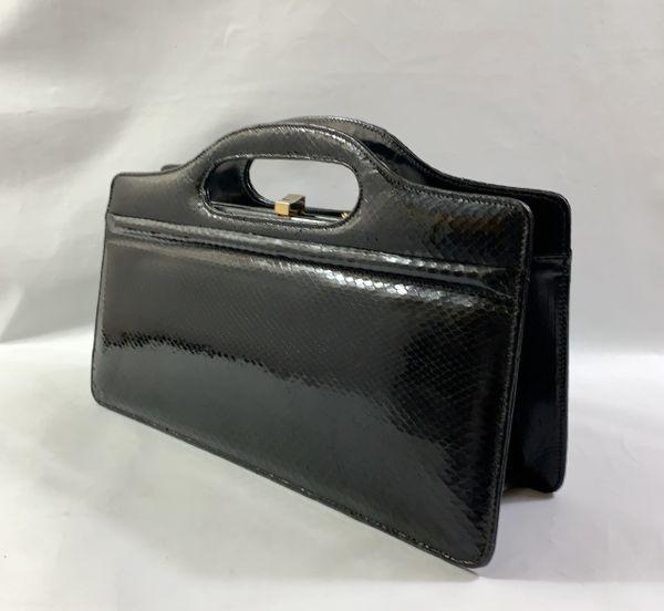 Black Snake Skin & Leather 1970s Vintage Handbag With Gold Tone Chain Shoulder Strap And Black Leather Lining.