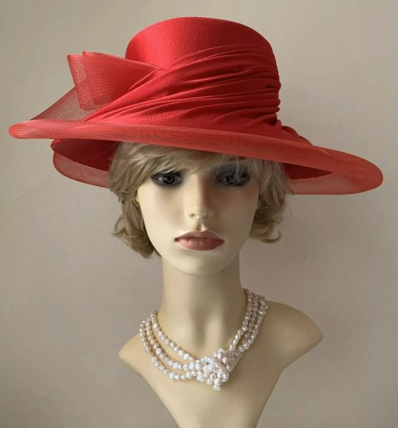 Vintage Style Formal Hand Made Bright Red Wide Brim Dress Hat Weddings Church