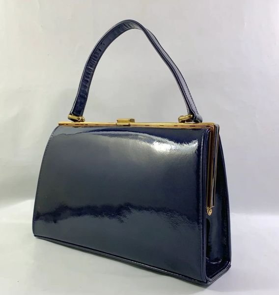 MacLaren Blue Patent Leather 1950s Vintage Handbag With Buff Suede Lining And Elbief Frame