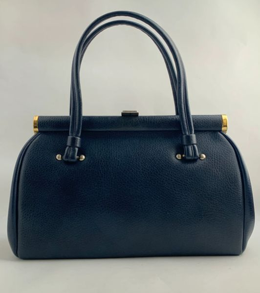 Freedex Large Dark Blue 1960s Vintage Handbag In Textured Faux Leather With Blue Fabric Lining