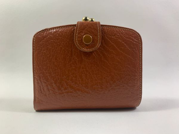 Vintage 1950s Tan Textured Oak Calf Leather Coin Purse Mini Wallet Tan Leather Lining