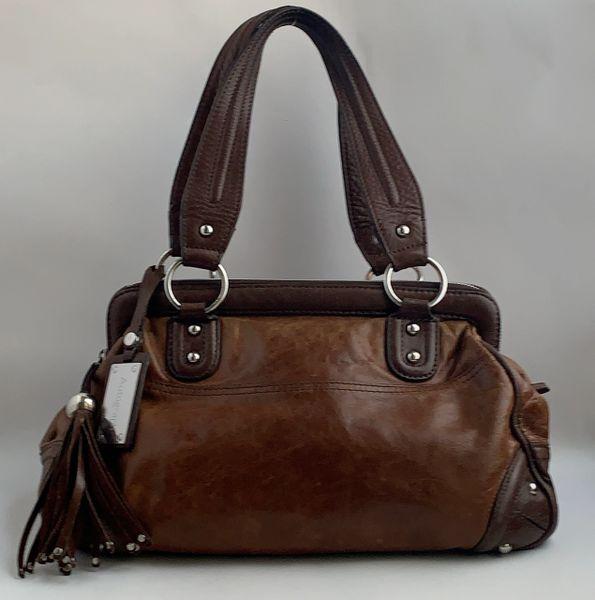 Autograph Tan Large Leather Tote Handbag Dark Brown Handles Black Fabric Lining