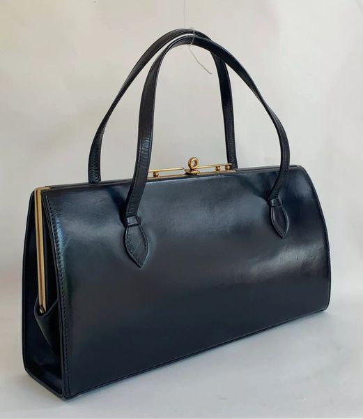 Riviera Dark Blue Vintage 1950s Wide Handbag With Buff Suede Lining
