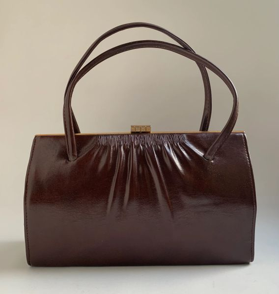 Vintage 1950s Well Loved Brown Faux Leather Handbag Fabric Lining Elbief Frame