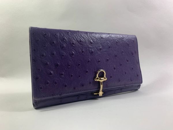 Lilac Ostrich Embossed Leather 1990s Vintage Wallet Purse Fabric Leather Lining