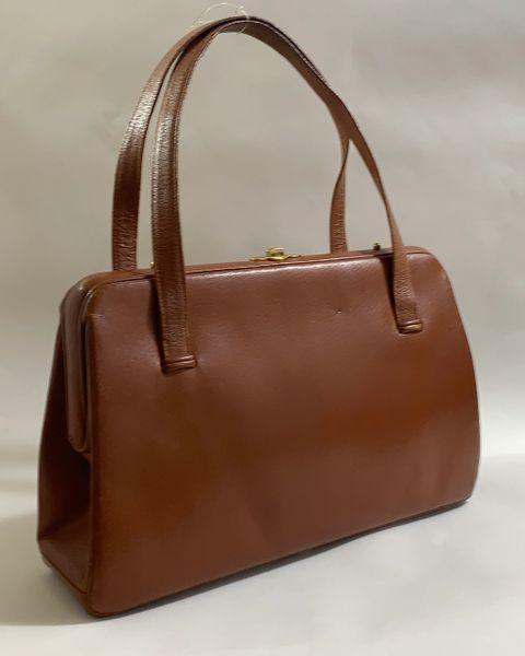 Waldybag Large Tan Pig Skin Leather 1950s Vintage Handbag Suede LIning Covered Frame