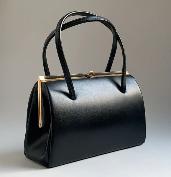 Vintage 1960s Black Faux Leather Handbag With Buff Suede Lining Elbief Frame