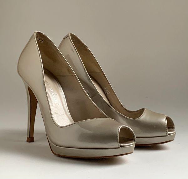 Karen Millen Metallic Neutral Leather Platform Peep Toe Shoes & Box UK 4.5