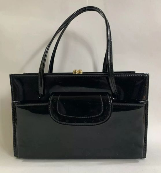 Black Patent 1960s Vintage Handbag With Side Pockets Fabric Lining & Elbief Frame
