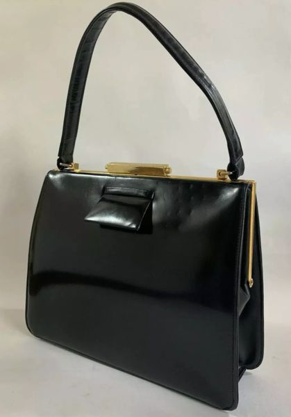 Vintage 1950s Black Coated Leather Top Handle Handbag With Buff Suede Lining