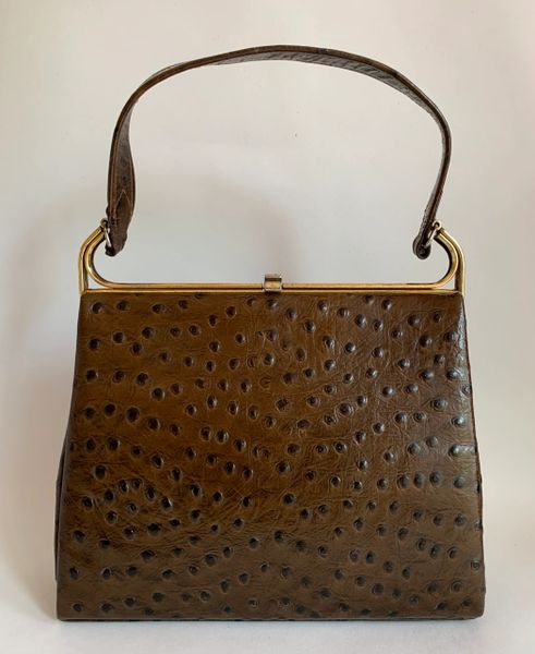 Holmes of Norwich Vintage 1950s Brown Ostrich Skin Handbag With Brown Rayon Lining.