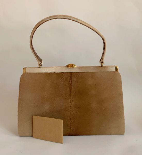 WH West Germany Vintage1960s Tan Calf Hair Leather Handbag Buff Suede Lining Matching Mirror Extremely unusual vintage handbag
