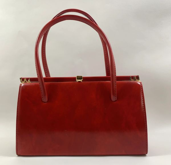 Freedex Vintage 1960s Red Faux Leather Handbag Buff Suede Lining Elbief Frame