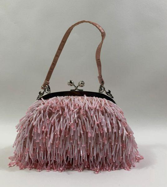 Dune Pink 1990s Beaded Evening Handbag Silver Toned Frame Single Satin Handle