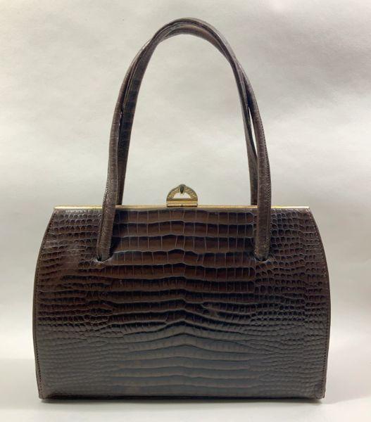 Ben Bag Well Loved Brown Faux Leather Moc Croc 1950s Vintage Handbag With Brown Satin Lining