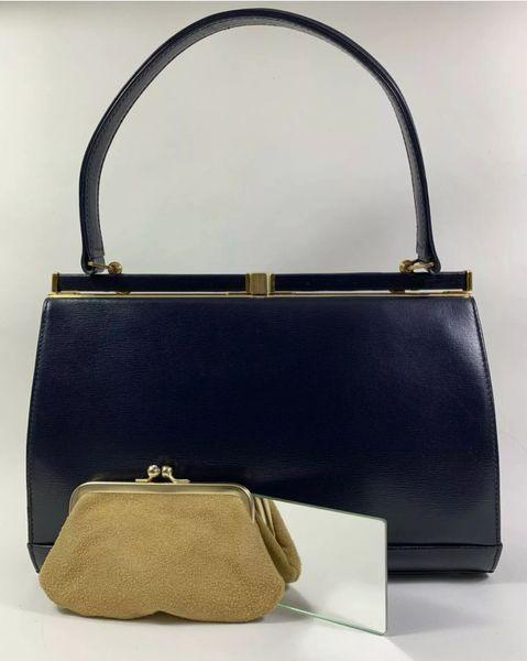 Riviera Blue Leather 1950s Vintage Handbag With Buff Suede Lining Purse & Mirror