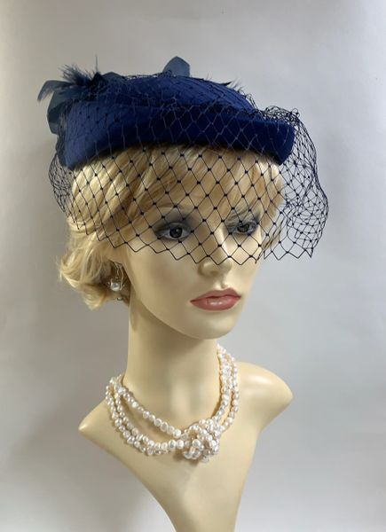 BHS Millinery Vintage 1960s Blue Calot Hat With Rear Large Feather Plumage, Face Veil & Black Satin Lining