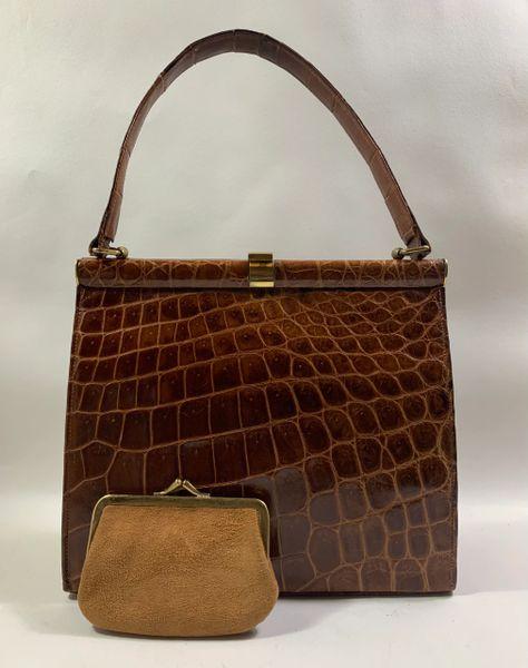 Whiskey Brown Crocodile Leather 1950s Vintage Handbag Buff Suede Lining & Purse