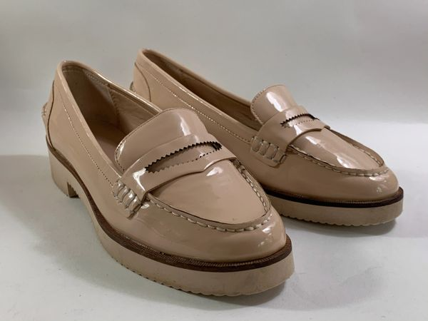Zara Trafaluc Nude Synthetic Patent Slip On Thick Sole Loafers Size UK 4 EU 37.