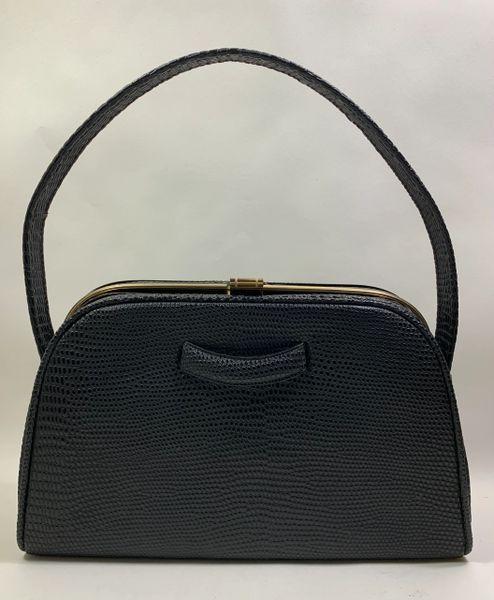 Vintage 1940s Black Faux Lizard Synthetic Handbag With Black Moir Fabric Lining
