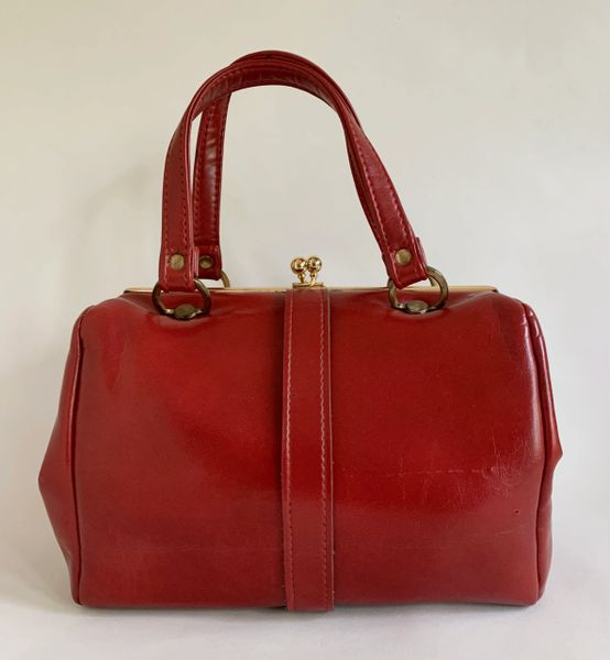 St Michael Vintage 1960s Red Faux Leather Handbag With Black Fabric Lining And Elbief Frame