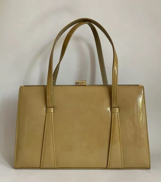 Vintage 1950s Marbled Caramel Patent Leather Handbag With Suede Lining And Elbief Frame