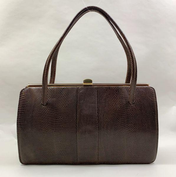 Riviera Mid Brown Lizard Skin 1950s Vintage Handbag With Buff Suede Lining.