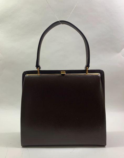 EROS Small Vintage 1950s Brown Calf Leather Handbag Suede Lining Elbief Frame