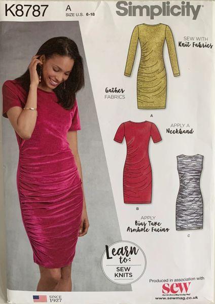 Simplicity Knit Fabric Vintage Sewing Dress Pattern K8787 Size 6-18 Uncut Size 6-18 Uncut