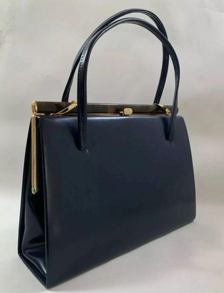 Chamelle Vintage 1950s Blue Faux Leather Handbag With Buff Suede Lining & Elbief Frame