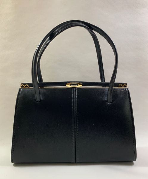 1960s Black Faux Leather Vintage Handbag With Buff Suede Lining And Elbief Frame