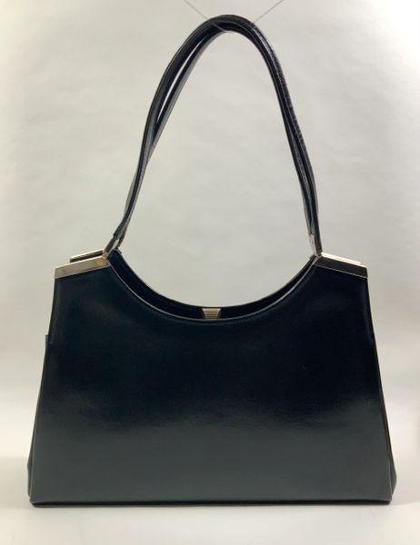 Maggy Vintage 1950s Large Black Leather Handbag Buff Suede Lining Hidden Pockets