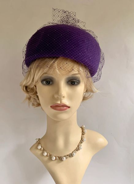 Jacoll Vintage 1960s Purple Felt Pillbox Hat With Spotted Net Top Detail Unlined