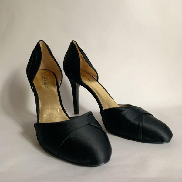 Nine West Black Satin Dorsay Stiletto Heel Courst Shoes Size UK 6.5 EU 39.5.