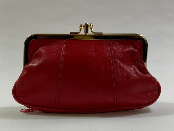 Vintage 1960s Style Double Sided Red Leather Coin Purse With Olive Fabric Lining