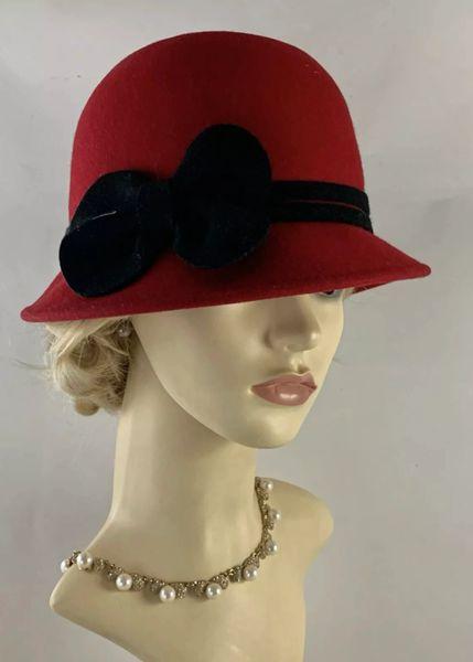 Radley Red Small Brim Felt Cloche Hat With Black Felt Ribbon And Bow Decoration