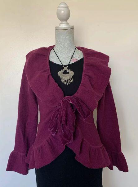 Per Una Ruby Claret 100% Wool Velvet Tie Front Ruffle Frilled Cardigan UK Size 10.