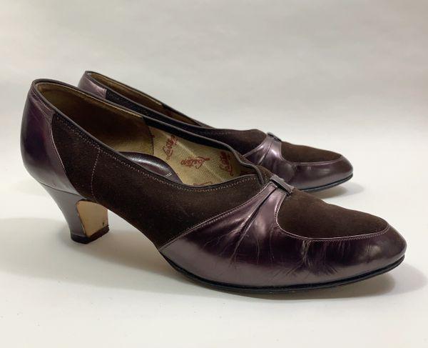 "Lastep Vintage 1940s Brown All Leather 2"" Block Heel Slip On Shoes UK Size 4 (65)"