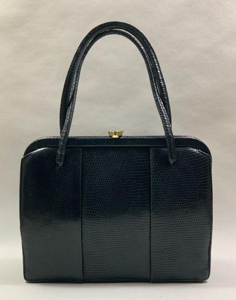Vintage 1950s Black Lizard Embossed Leather Handbag With Dark Buff Suede Lining