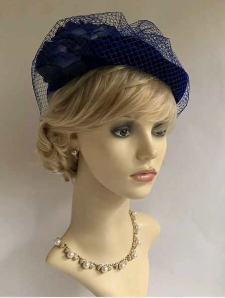 C&A Vintage 1980s Blue Velvet Calot Pill Box Hat Rose Flower Detail, Net Top And Black Satin Lining