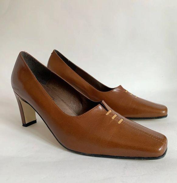 ANTON Mid Tan Leather Straight High Heel Chisel Toe Court Shoe Size UK 6 EU 39.