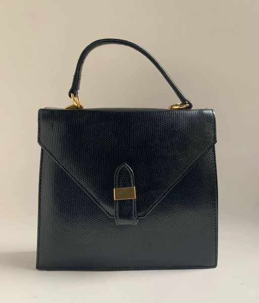 Vintage 1980s Small Black Faux Lizard Synthetic Shoulder Bag With Black Fabric Lining.