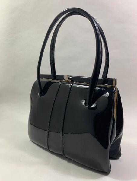 Vintage 1950s Top Handle Black Soft Faux Patent Handbag Dark Buff Suede Lining