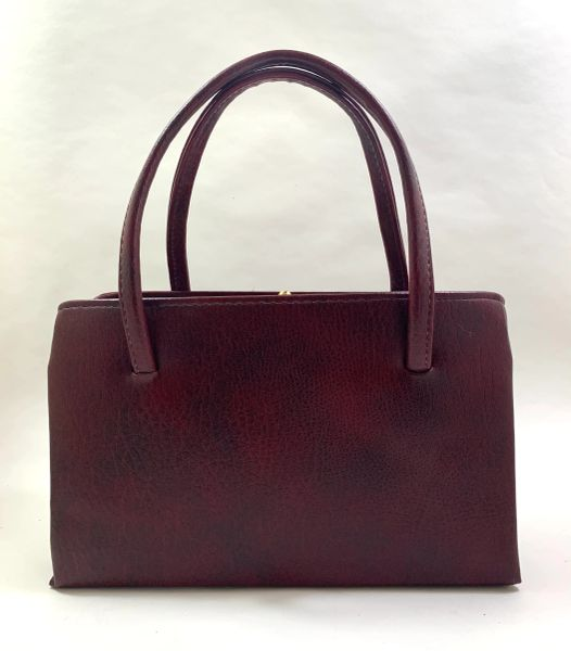 Vintage 1950s Synthetic Claret Everyday Granny Handbag With Black Fabric Lining Elbief Frame
