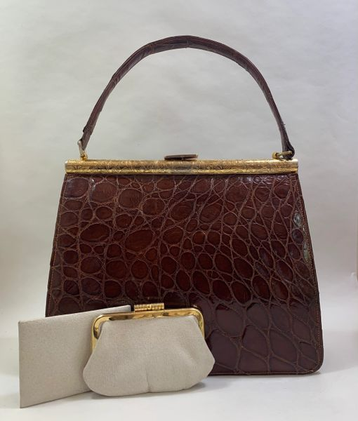 Chestnut Brown Crocodile Leather 1950s Vintage Handbag With Cream Leather Lining Purse & Leather Backed Mirror.